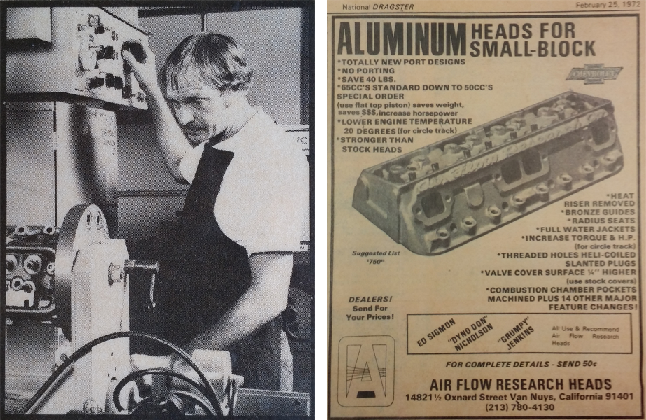 Left: Ken Sperling, founder of Air Flow Research, working on cylinder heads. Right: AFR's first aluminum cylinder head ad from the 70s.